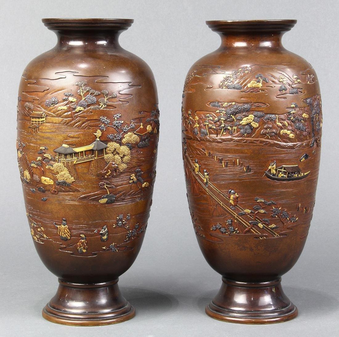 Japanese Pair of Bronze Vases, Meiji