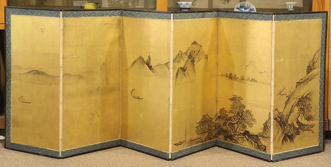 Japanese Six-panel Byobu Screen, Kano, early 19c
