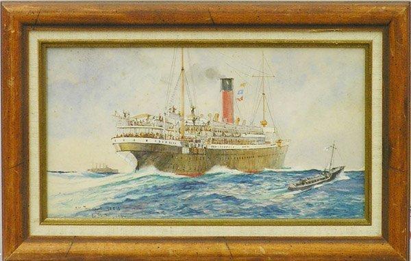 6007: Watercolor Guy Standing British Ship