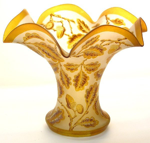6015: Webb acorn motif satin glass vase