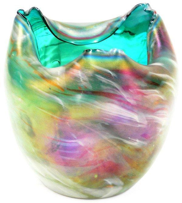 6016: Loetz iridescent marbled glass vase