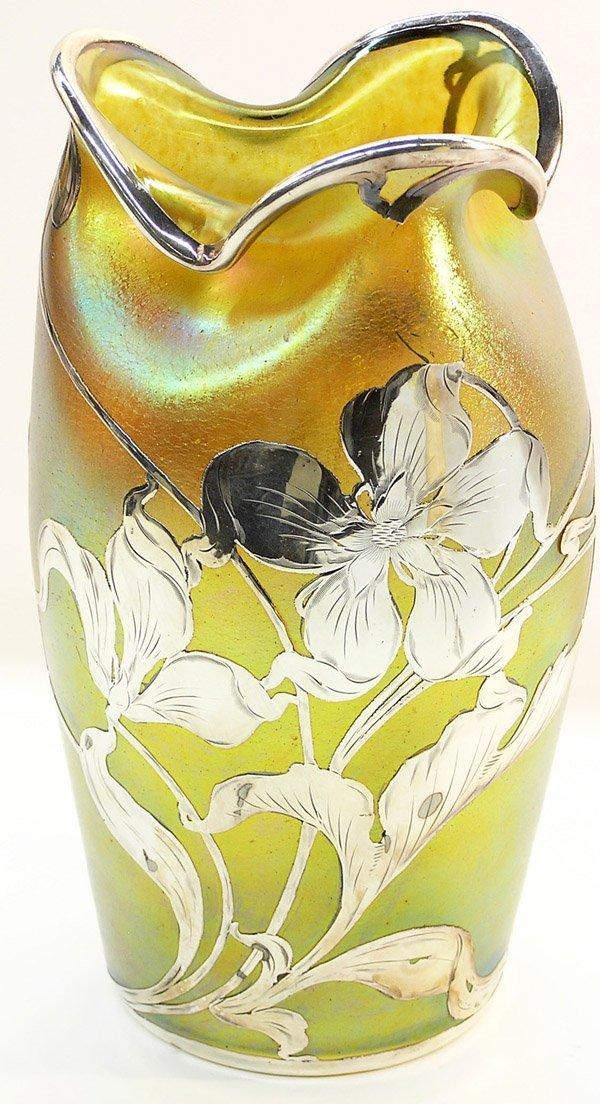 6019: Loetz silver overlay vase