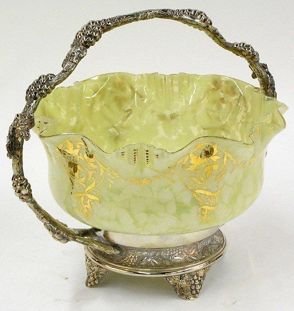 6023: Victorian spatter glass bride's basket