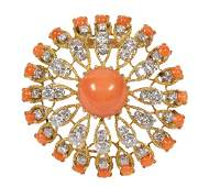 Van Cleef & Arpels coral, diamond and 18k yellow gold