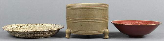 Chinese Celadon Ceramic Censer, Marbled Plate, Bowl
