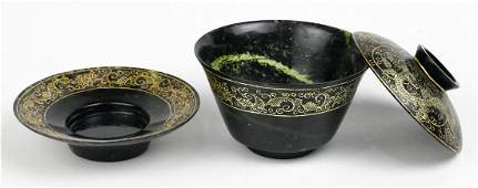 Chinese Gilt Hardstone Cup and Saucer