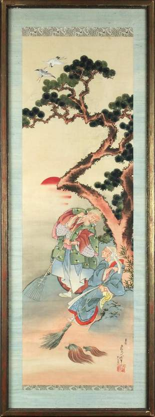 Japanese Painting on Scroll, Attributed to Hokusai
