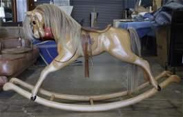 Vintage Relko handcrafted wooden rocking horse New