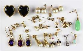 Collection of multistone cultured pearl yellow gold
