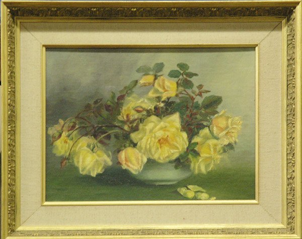4: Oil painting Yellow Roses Vase