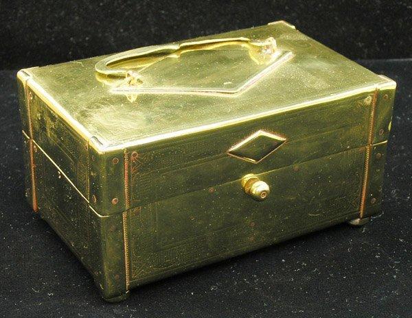 12: Antique velvet-lined brass jewlery box
