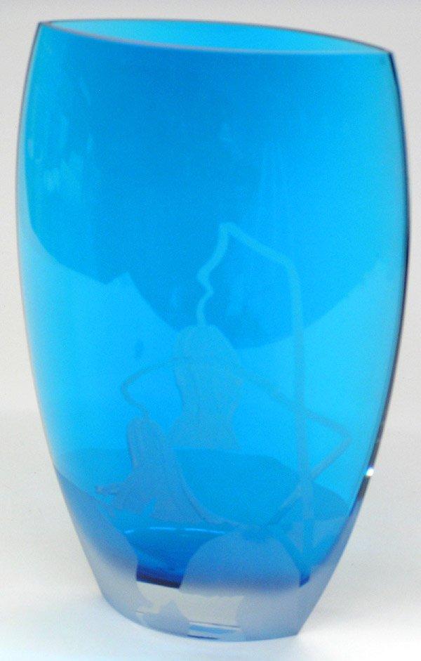 15: Elliptic sapphire-blue crystal vase