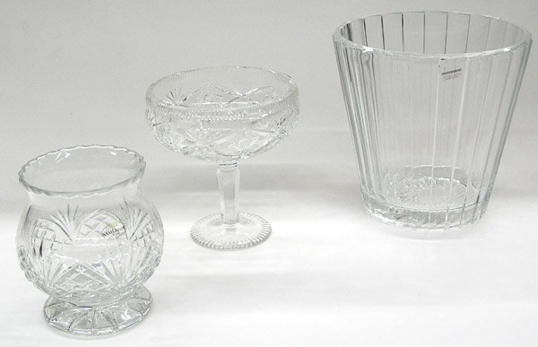 16: Cut glass compote, footed vase