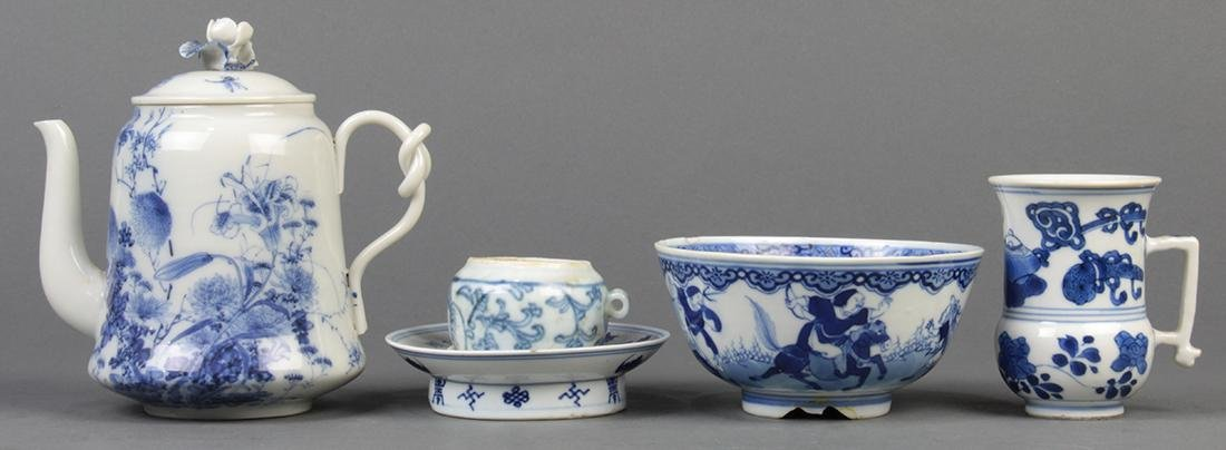 Japanese Teapot and Chinese Blue-and-White Porcelain