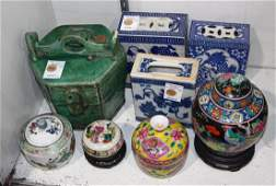 Group of Chinese Pillows, Jars, and Pouring Vessel