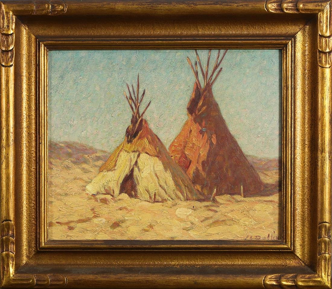 Painting, Landscape with Two Teepees