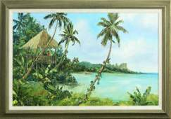 Painting Tropical Beach with Figures