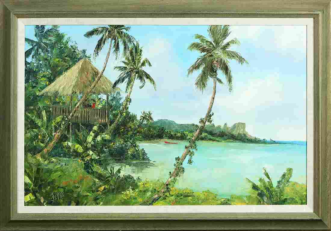 Painting, Tropical Beach with Figures