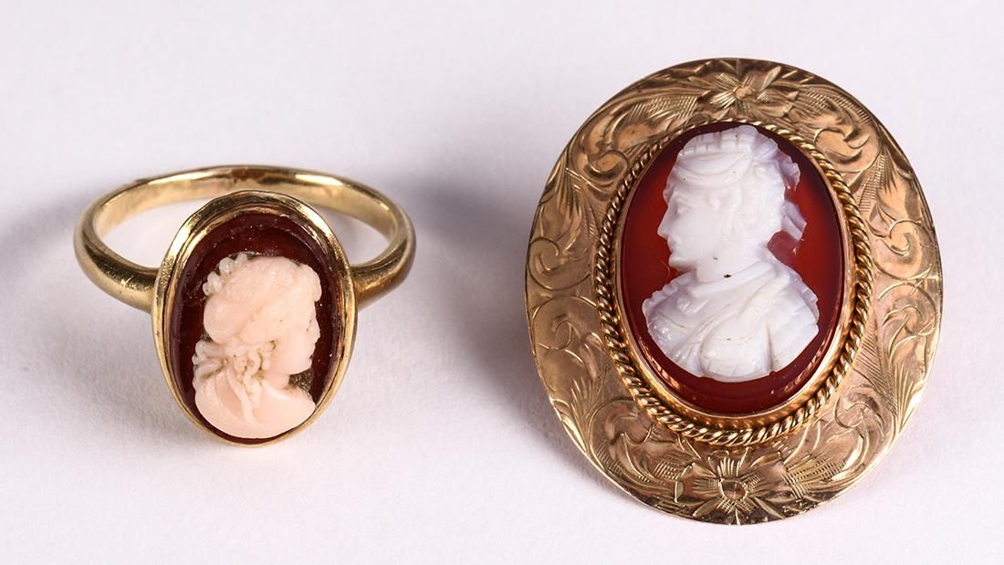 Agate, cameo and gold-filled jewelry