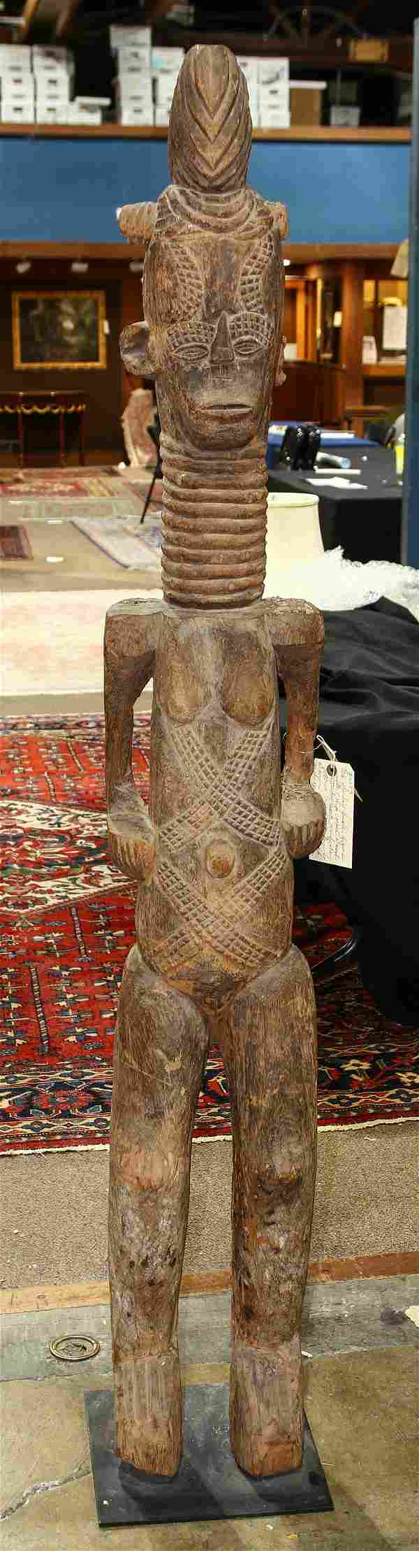 Large African carved wood Ibo, Nigeria sculpture,