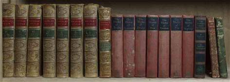 One shelf of leather and cloth bound books including a