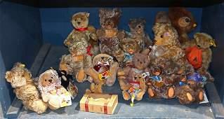 One shelf of Steiff teddy bears