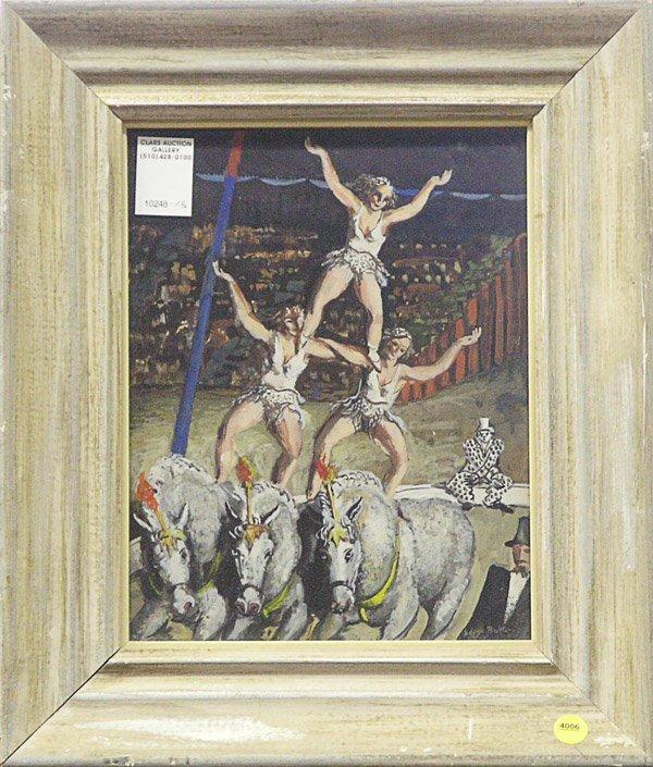 4006: Gouache Edgar Britton Circus Scene