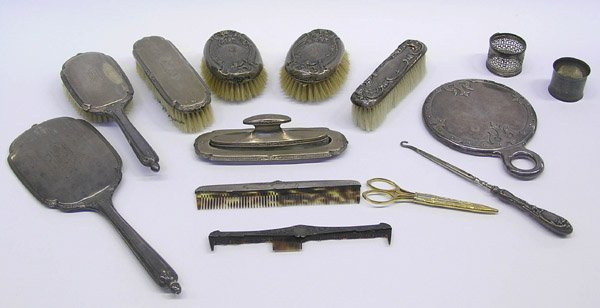 4019: Sterling dresser mirror comb brushes