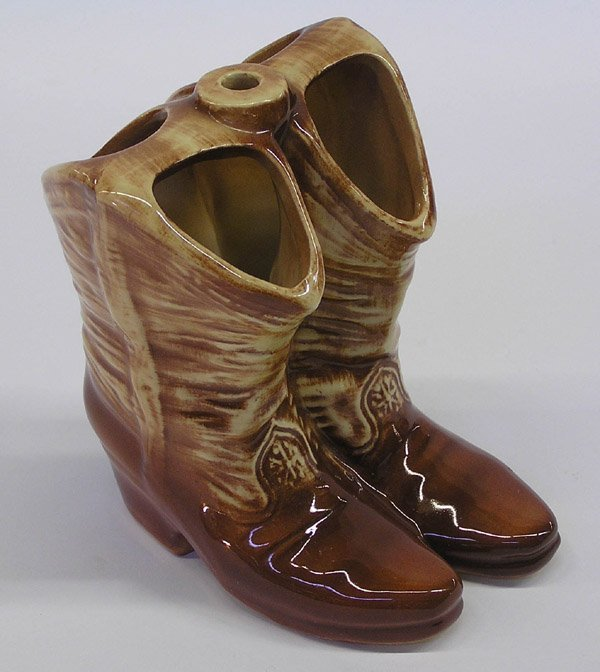 4024: McCoy USA art pottery cowboy boot vase