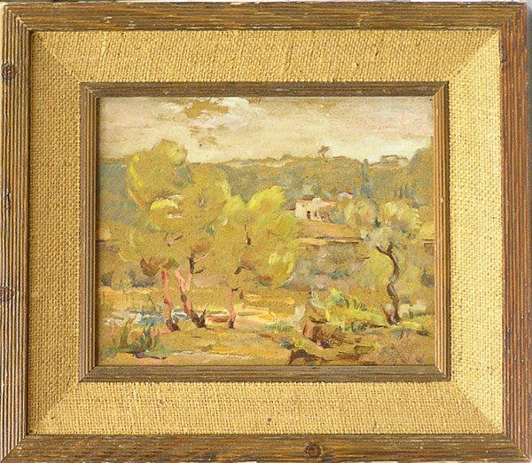 6003: Abstract Landscape oil E. Rattchi
