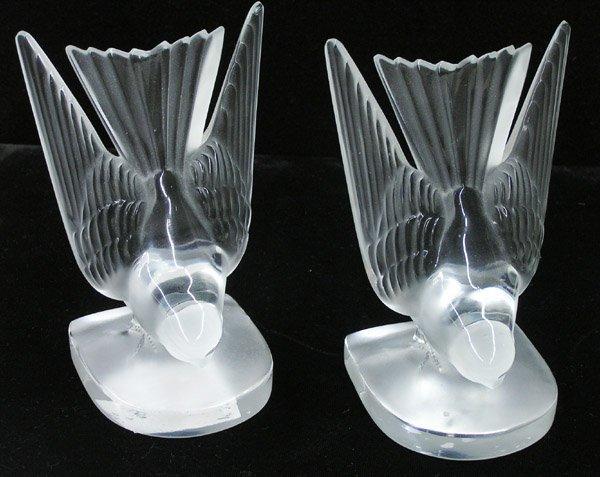 6019: Lalique France Hirondelle bookends