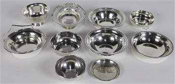 (lot of 10) Assorted sterling silver hollow ware group