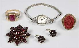 Lot of 5 Synthetic ruby diamond garnet cinnabar