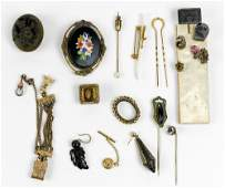 Collection of multistone glass gold and metal items