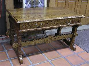 Carved Ash Library Table
