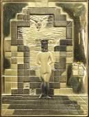 Gold Bas Relief, Salvador Dali, Lincoln in Dalivision