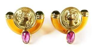 Pair of multi-stone, 14k yellow gold earrings