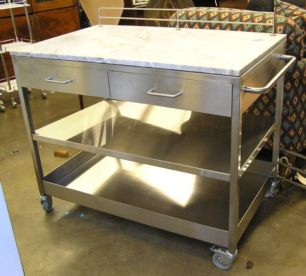 124: Polished stainless steel kitchen cart