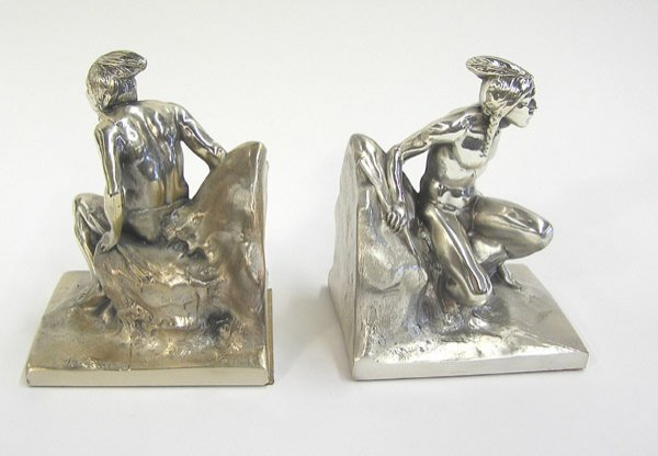 140: pewter indian scout bookends