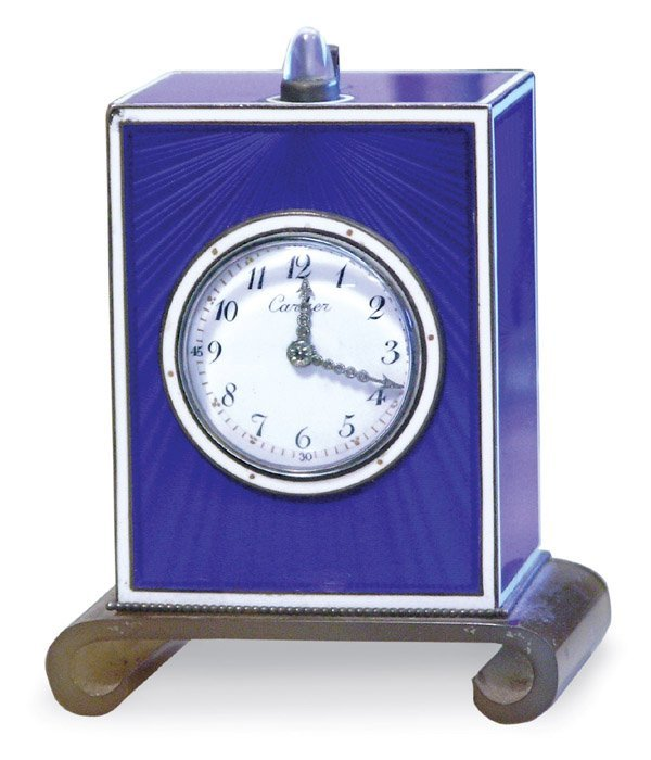 2678: Cartier blue guilloche desk clock