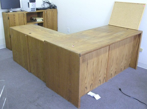 8003: Oak office desk cabinet