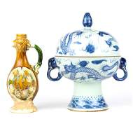 (Lot of 2) Chinese Tang-style Sancai Ewer and blue and