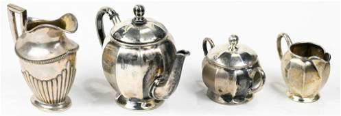 German Jakob Grimminger .800 silver bachelor 3pc tea