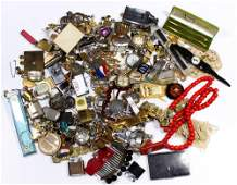 Collection of costume jewelry and medals