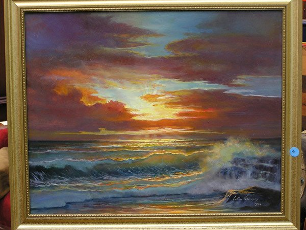 12: Lydia Vercinsky, Waves at Sunset, o/b