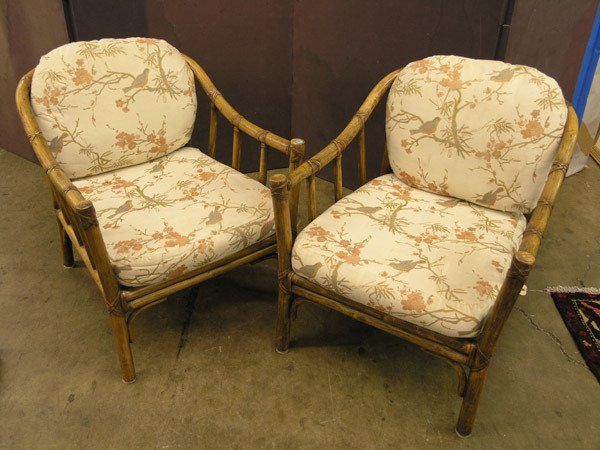 380: Pair of McGuire Bamboo Lounge Chairs