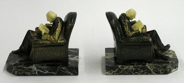 4017: gilt metal and painted bookends