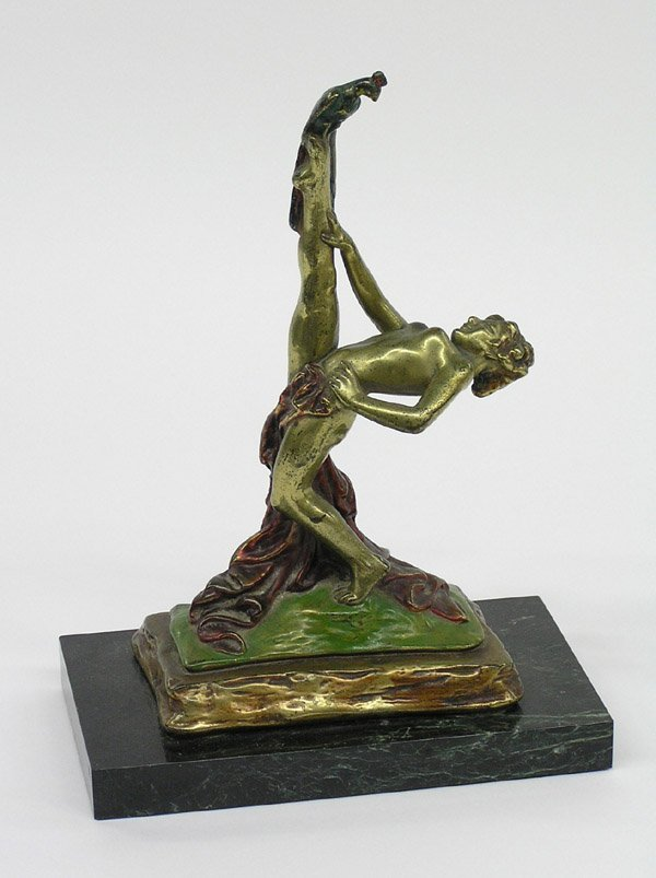 4020: Art Nouveau bronze clad nude female