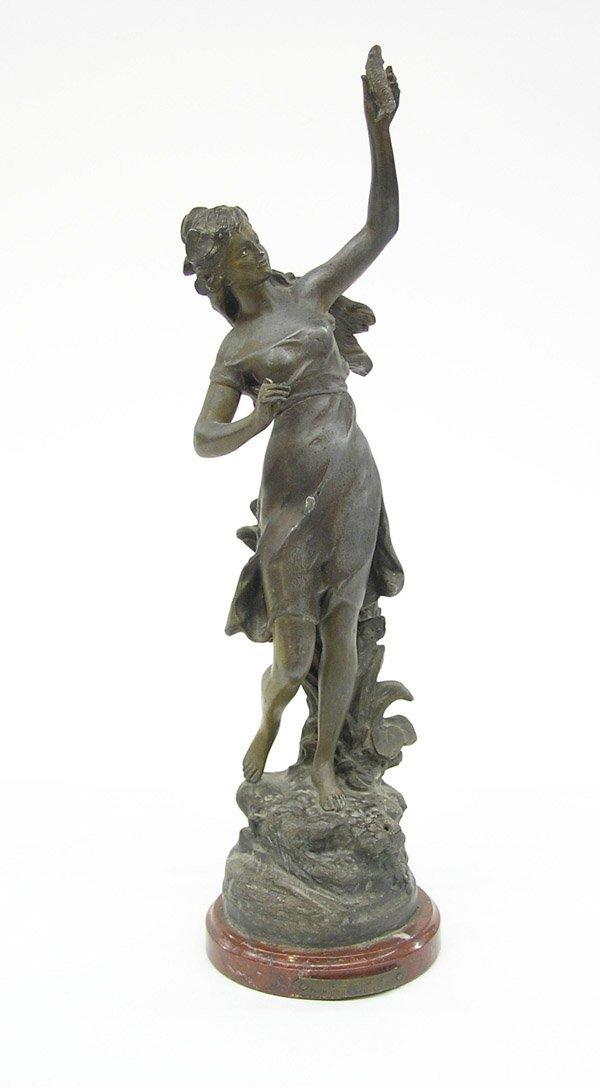 4021: Bronze hued cast metal sculpture ''Peche''