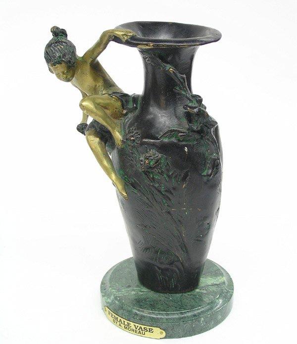 4023: Bronze Female Vase after A. Moreau